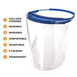 Full Face Shield Shatterproof Adjustable Reusable Clear Plastic With Comfort Sponge (x1, x5, x10 Pack) | TG Engineering Plastics Limited | TG Engineering Plastics Limited