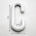 x20 Pack Plastic C Hooks H; 3.6cm W;1.3cm Point of Sale | TG Engineering Plastics Limited
