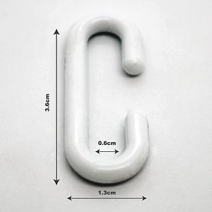 x20 Pack Plastic C Hooks H; 3.6cm W;1.3cm Point of Sale   TG Engineering Plastics Limited
