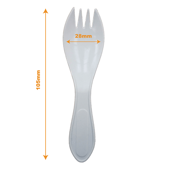 White disposable plastic sporks tableware cafe catering occasions spoon fork | TG Engineering Plastics Limited