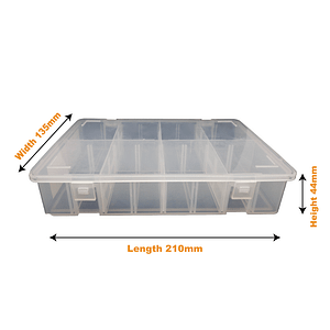 Medium Divider Box (1 & 10 Pack) 210mm L, 135mm W, 44mm H | TG Engineering Plastics Limited | Storage Boxes