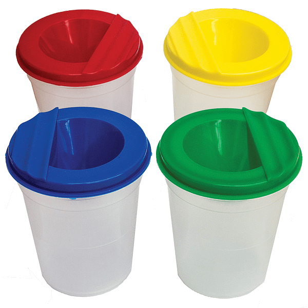 x4 Non Spill Paint Pots For Kids (Assorted Coloured Lids) Art & Craft Activities | TG Engineering Plastics Limited