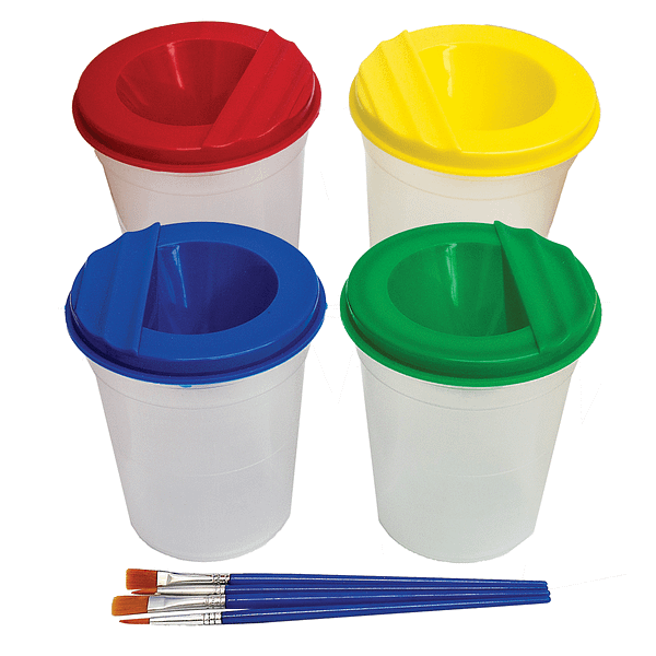 x4 Non Spill Paint Pots With Paintbrushes For Children Painting Activities | TG Engineering Plastics Limited